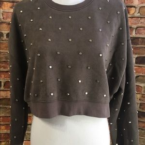 Zara  Long sleeve Grey Studded Crop Top
